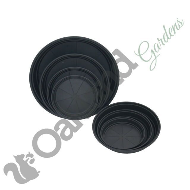 2 Litre Plant Pot Drip Watering Tray 40 X 16cm Black High Saucer Deep 1 1.5
