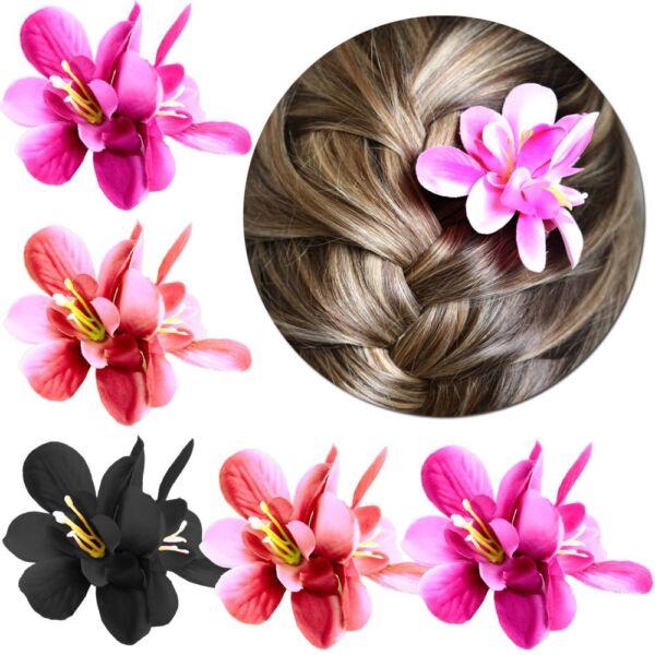 1 Haarblüte Stoffblume Blüte Haarspange Haarblume Damen Kinder Haarschmuck Rosa
