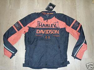 HARLEY-DAVIDSON-Essex-funcional-Moto-Motocicleta-Chaqueta-Negro-Rojo-Ladrillo