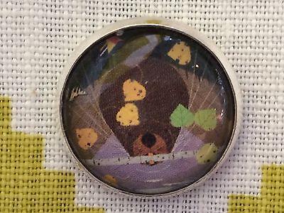 "Charley Harper Bird Beaver 1"" Glass Sewing Button Mid Century Mod Charles CH32"