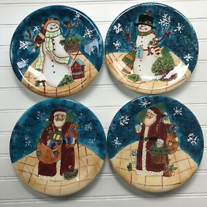 Susan-Winget-Certified-International-Santa-Snowmen-Set-of-4-Dessert-Plates-CIC
