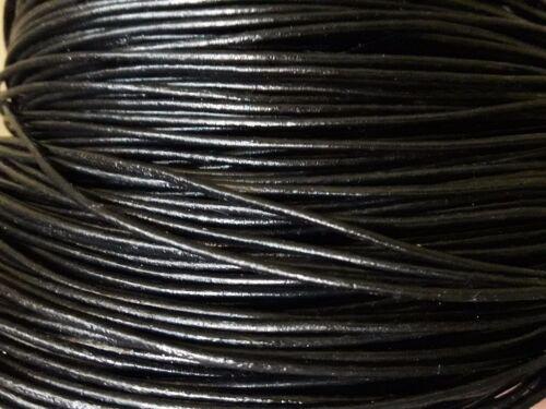 Cuirs 5 A 90 Mètres Cordon Cuir Authentique 1,5mm Noir Lacets CC15-08