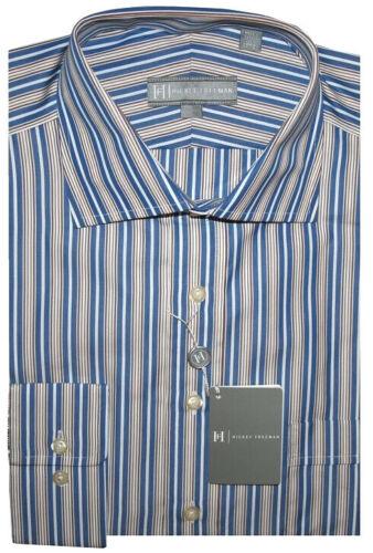 $245 New Hickey Freeman Blue White Brown Dress Shirt 17 L