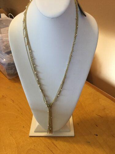 Ann Taylor Gold Tone Drop Necklace #699