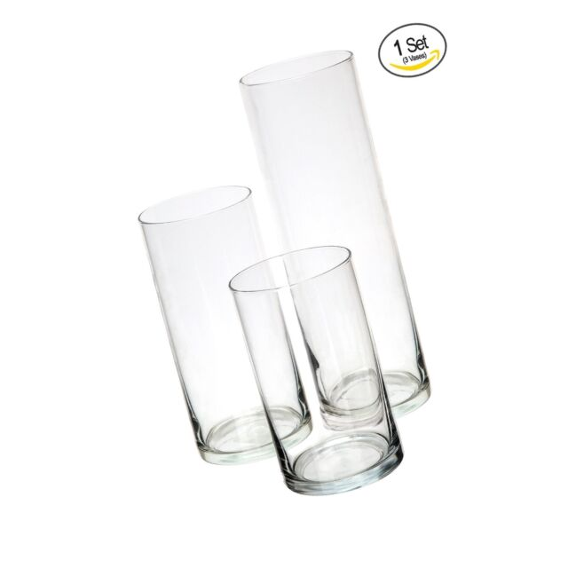 Royal Imports Glass Cylinder Vases Set Of 3 Decorative Centerpieces