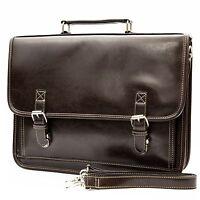 Mens Professional Vegan Leather Messenger Briefcase Shoulder Bag Laptop Case