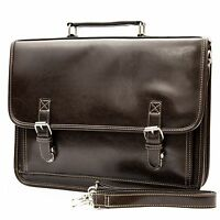 Mens Professional Vegan Leather Messenger Briefcase Shoulder Bag Laptop Case