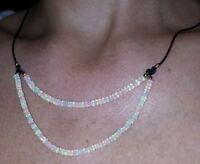 24ct Genuine Ethiopian Fire Opals Opal Solid 14k Gold Black Leather Necklace