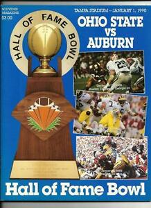 1990 Hall OF Fame Bowl Game Program Auburn Ohio State