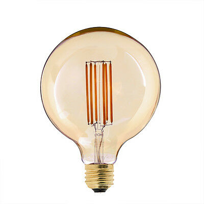 Vintage LED Filament Bulb,6W 2200K,Gold Tint G125 Lamp,E26 E27 Base,Dimmable