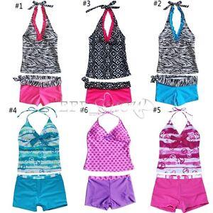 Girls-Halter-Tankini-Swimsuit-Swimwear-Swimming-Costume-Bathing-Age-5-16-Years