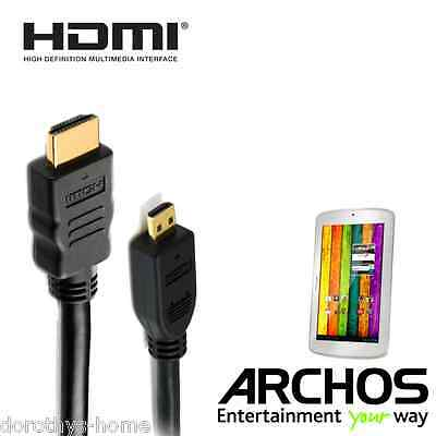 Archos 70b Titanium, 101 Xenon Tablet Micro HDMI to HDMI TV 1.8m Cord Lead Cable