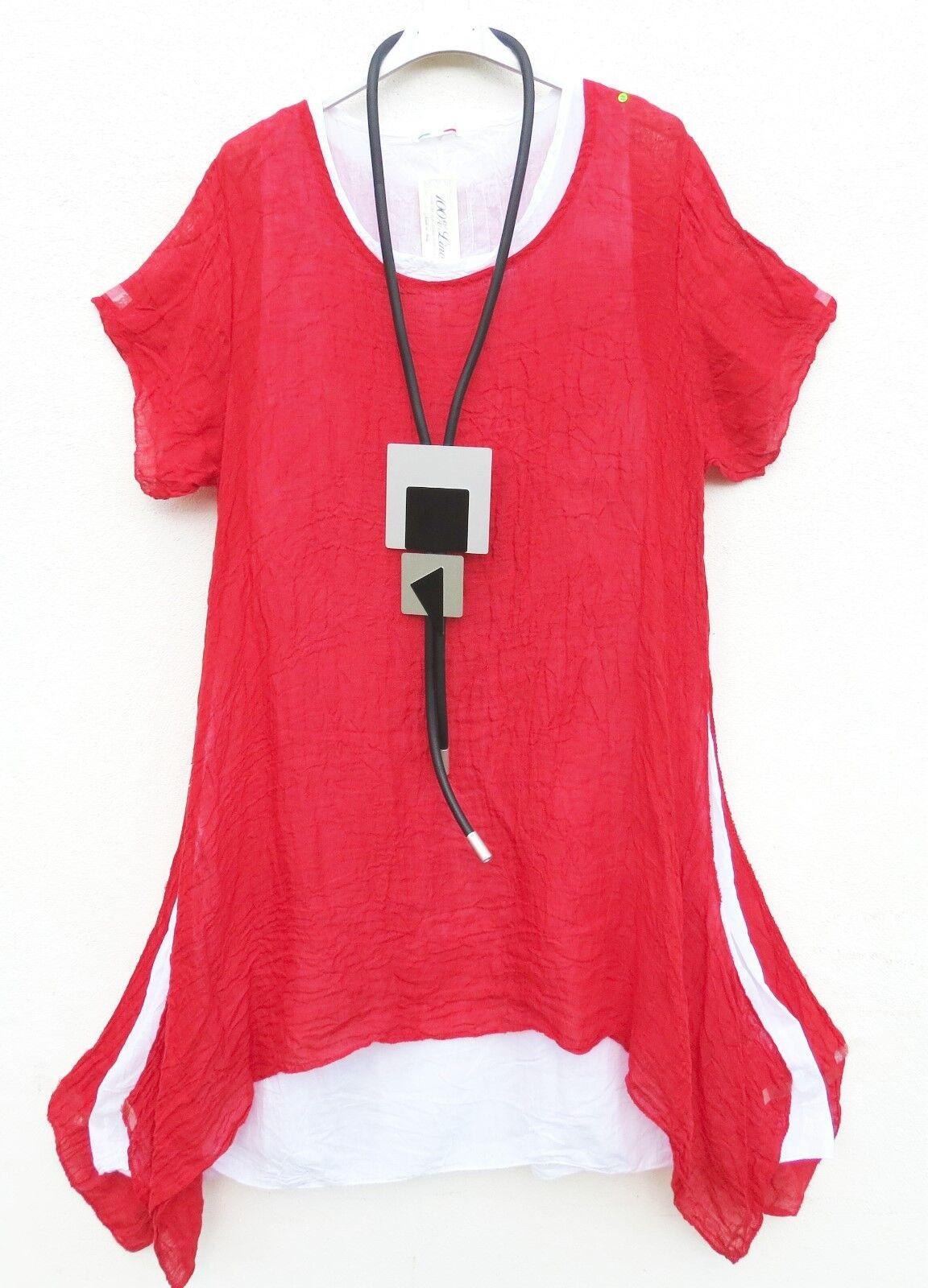 NEU LUIGI Leinen Kleid Long Tunika Linen Dress Robe Vestito L 44 46 Lagenlook