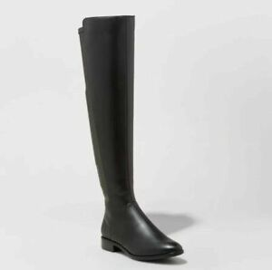 A-NEW-DAY-BREANNA-OVER-THE-KNEE-RIDING-BOOTS-BLACK-SIDE-ZIP-ALMOND-TOE-LOW-HEEL