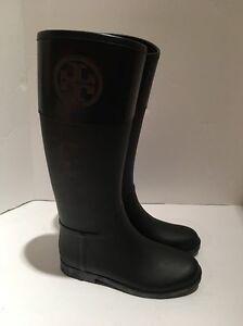 f592b2cc1bf New Tory Burch Boots T Logo Cuff Classic Rain Boots Equestrian Sz 10 ...