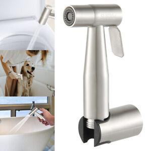 Bidet-Brause-mit-Halter-Edelstahl-WC-Hand-Duschkopf-Intim-Hygiene-Dusche-Bad-Set