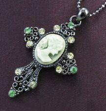 Antique Vintage Style Green Rhinestone Designer Cameo Cross Necklace Pendant