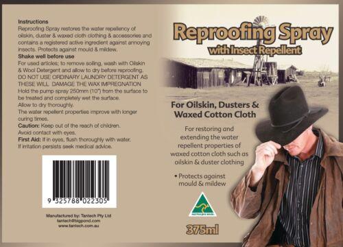 375ml cerato cotone Cura Spray per Oilskin On giacche Waterproofing Australian in AIxvw