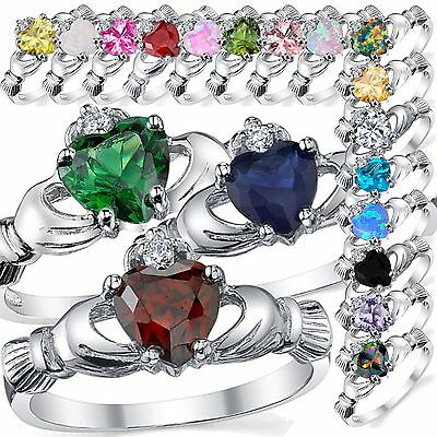 Sterling Silver Heart Irish Claddagh Engagement Promise Wedding Ring Sizes 3-11