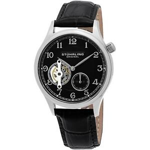 Stuhrling Men's Black Calfskin Stainless Steel Case krysterna Watch 983.02