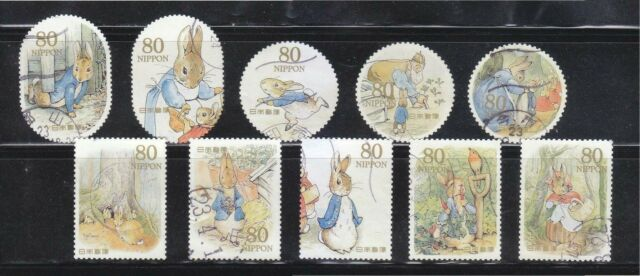 JAPAN 2011 THE WORLD OF PETER RABBITS GREETING 80 YEN COMP. SET OF 10 STAMP USED