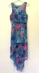 White-Closet-Womens-Blue-with-Flowers-Sleeveless-Lined-Dress-Size-8