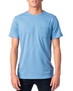 Rip-Curl-PLAIN-POCKET-TEE-Mens-Crew-Neck-T-Shirts-New-CTELL2-Denim-Blue