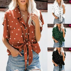 Women-039-s-V-Neck-Dot-Printed-Shirts-Short-Sleeve-Knot-Collared-Button-Pockets-Tops