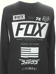 FOX-Racing-T-shirt-Long-Sleeve-Union-Black-Gray-Logo-Motorcross-Cotton-Men-039-s-New
