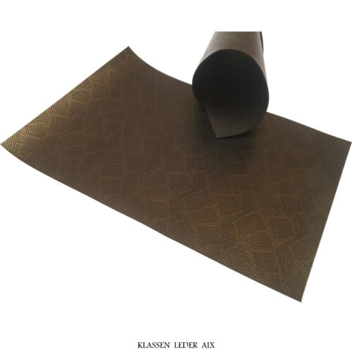 Reptil Bronze Design 2,0 mm Dick A4 Stück Echt Rindsleder Leather Haut LARP 375