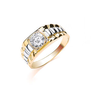 Solitaire Ring Men S Solid Gold Engagement Ring Yellow Gold White