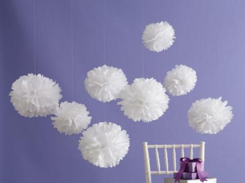White Tissue Paper Pompoms Flower And Paper Lanterns Wedding Party Decoration