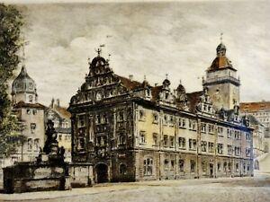 Carl-Zwicker-schicke-Farb-Radierung-um-1920-GOTHA-Ansicht-Rathaus-amp-Brunnen