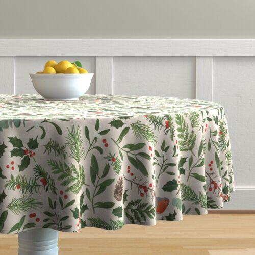 Round Tablecloth Christmas Robin Bird Holly Mistletoe Eucalyptus Cotton Sateen