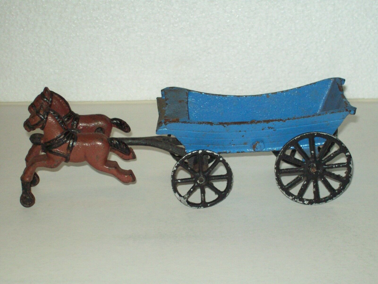 Vintage  Cast Iron  Toy Horse Team and Wagon