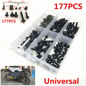 177PCS-Black-Fairing-Bumpers-Panel-Bolts-Kit-Fastener-Clips-Screw-for-Motorcycle