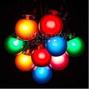 50 foot outdoor globe patio string lights set of 50 g40 assorted satin