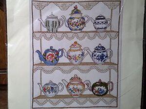 V-amp-a-034-Teapot-muestreador-034-Cross-Stitch-kit-punto-de-cruz-Stick-envase-20x25-cm
