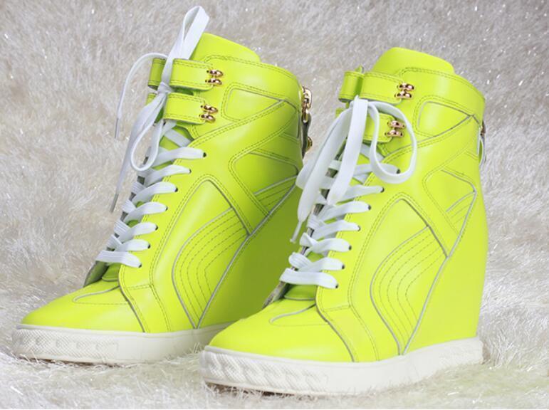 Moda Mujer Alta-Top Zapatillas Zapatos Con Cordones Tacón de de de Cuña Oculta Zapatos De Plataforma  en linea