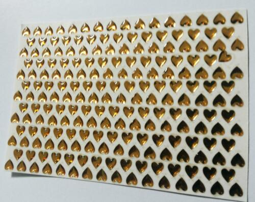202 Self Adhesive 5 mm GOLD HEARTS sticky acrylic raised Gems Stickers
