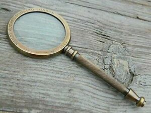 Maritime-Henry-Hughes-London-Brass-Magnifying-Glass-Antique-Magnifier-GiFT