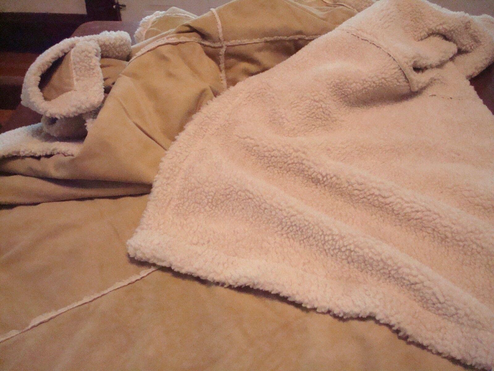Faux Lambs Wool Sherpa Throw Blanket Tan Natural