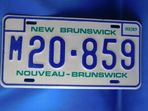 NEW-BRUNSWICK-LICENSE-PLATE-1987-MARCH-M20-859-CANADA-GARAGE-MUSCLE-CAR-SIGN