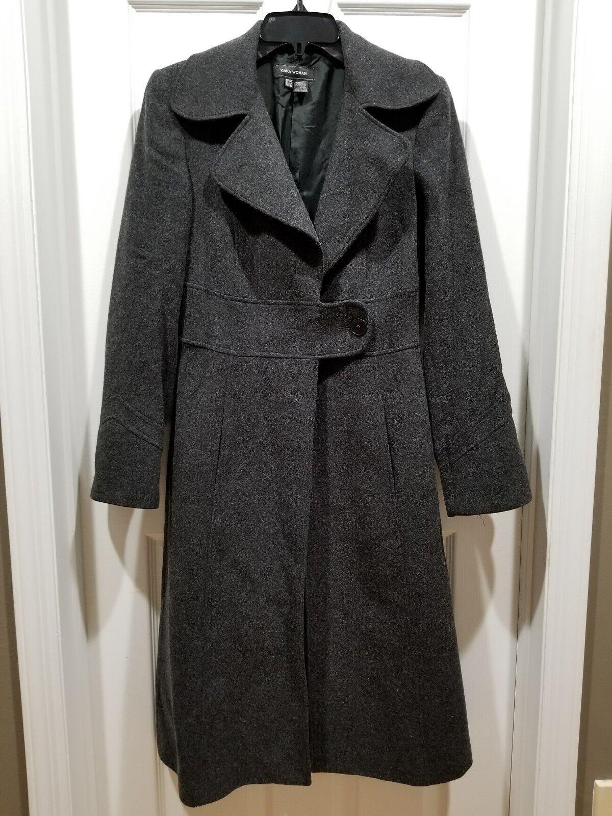 Zara grå Long Wool Blend Coat Sz 4