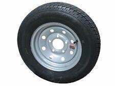 """ST145R12 LRE Rainier ST Radial Trailer Tire on 12"""" 5 Lug HD Silver Mod Wheel"""