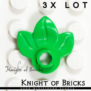 LEGO Lot of 2 Bright Green 1x1 Round Plates with 3 Leaves