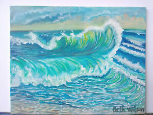 Original-Acrylic-Painting-8-x-10-Canvas-Panel-Beach-Wave-Seascape-Art