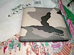 Mens-Coach-Leather-Wallet-Camouflage-Grey-Beige-RRP-129