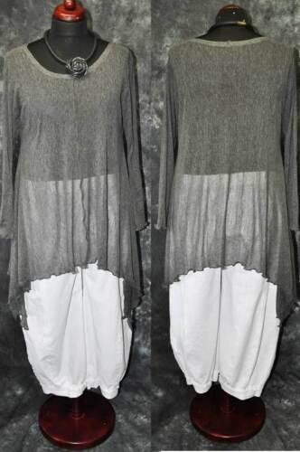 L,XL,XXL Lagenlook raffiniert Hexen-Tunika-Shirt Fledermaus MESH GRAU 44,46,48