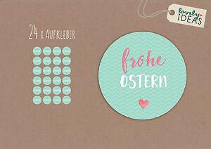 24-x-Geschenkaufkleber-034-Frohe-Ostern-034-40mm-tuerkis-Etiketten-Aufkleber-Sticker